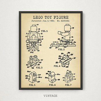 LEGO Blueprint Art Patent Printable, Lego Poster, Lego Toy Figure, Lego Toys, Kids Room Wall Art, Nursery Decor, Digital Download, Retro Art