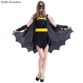 Superhero Batman Halloween Costumes for women party Cosplay Costume batgirl dress with cloak girls clothes sexy outfit