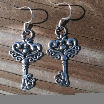 Unique Antique Silver Key Earrings