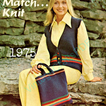 1975 Knitting Pattern | Matching Vest and Bag | Bohomian Clothing-Purse Pattern-Bag Pattern-Vest Pattern-Vintage Crafts PDF- Direct from USA