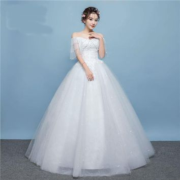 Arrival Lace Up Wedding Dress Tiered Shoulder Exquisite Flower Pattern with  Appliques and Sequined