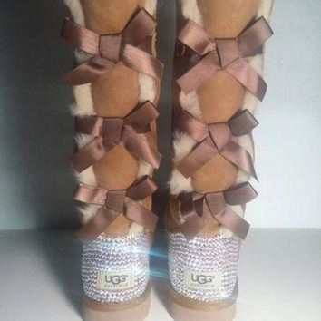 DCCK8X2 Bailey Bow UGGs, Custom Bailey Bow Uggs, Brown Bailey Bow Uggs, Swarovski Uggs, Crysta