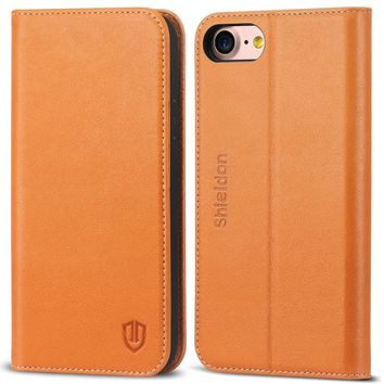 iPhone 8 Case, iPhone 7 Case, SHIELDON Genuine Leather Wallet Flip Book Design Case with Kickstand [Credit Card Slots] [Magnetic Closure] [TPU Shockproof Interior Case] for iPhone 7 / 8 (2017) - Brown