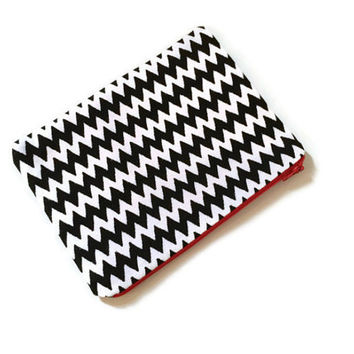 Chevron Pencil Case - Geometric Pouch - Black and White - Simple Pencil Case - Pencil Pouch - Gift for Her - Teachers Gift - Back to School