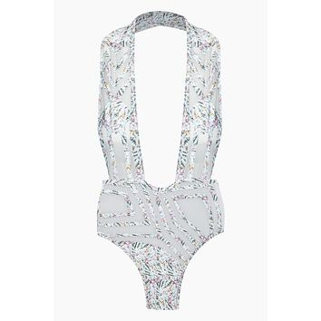 Desert Oasis Deep Plunge Mesh One Piece Swimsuit - Abalone