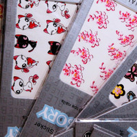 Beautiful Water Nail Tattoo Stickers -Cat, Heart, Flowers, Bows, Butterflies, & More 10- pack