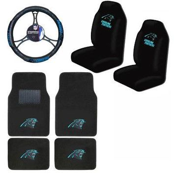 Licensed Official New NFL Carolina Panthers Car Truck Seat Covers Floor Mats Steering Wheel Cover