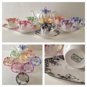 Shelley Dainty Rainbow Set Teapot, Tea Cups & Saucers