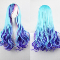 Harajuku Style Air Volume Light Blue Gradient Purple Prom Fashion Wigs 70CM