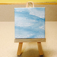 Mini Abstract Painting in Acrylic of Snow and Ice on Miniature Canvas