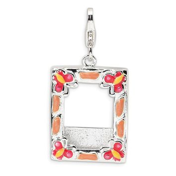 Sterling Silver 3-D Enameled Photo Frame w/Lobster Clasp Charm QCC162