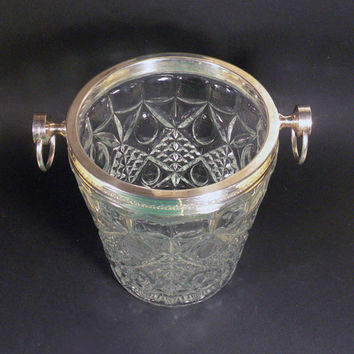 French vintage retro pressed glass ice bucket. Retro barware. glass ice bucket. glass wine cooler. champagne cooler