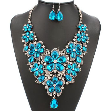 Blue Artificial Pearl Floral Gem Necklace and Earrings