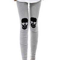 ELLAZHU Punk Skeleton Knee Fabric Patch Legging Tight Jepping Pant Trouser Onesize (Grey)