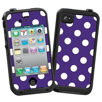 White Polka Dot on Deep Purple Skin for the iPhone 4/4S Lifeproof Case by skinzy.com