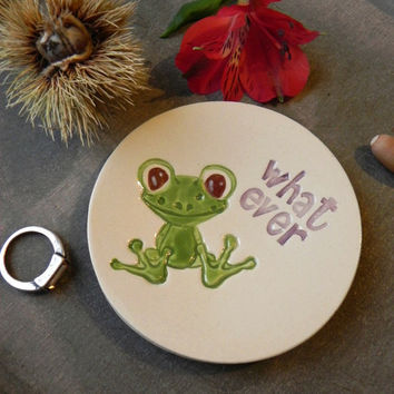 Froggy Ring Dish Funny Inspirational Text Ceramic Dish Storage Animal Round  Plate Jewelry Holder