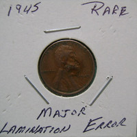RARE Error 1945 US American Wheat Penny Old Coin One 1 Cent  Major Lamination Errors Collector Special Must See Super Cool Collectible Item