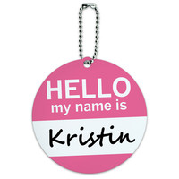 Kristin Hello My Name Is Round ID Card Luggage Tag
