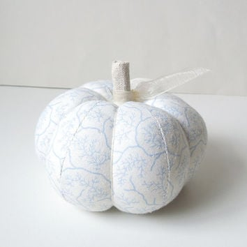 Pumpkin Pincushion with Pale Blue and White Design