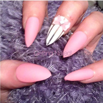 Hand painted matte pink & white details full false nails,**stick on nail* false nails * fake nails * handpainted nails * press on nails