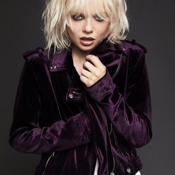 The Purple One Velvet Moto Jacket
