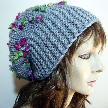 FREE SHIPPING - Hand Knit Hat,Womens Hat,Slouchy Hat, Crochet Pattern,The Souffle Beret Hat, Womens Hat,Chunky Knit, Winter Fashion