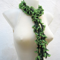 Crochet Scarf Fall Fashion Frilly scarf Ruffled Scarf  Holiday Accessories Green