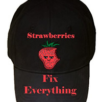 'Strawberries Fix Everything' Food Humor Cartoon - 100% Cotton Adjustable Hat
