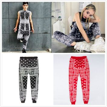 HIP POP Hot Fashion Unisex Bandanna Large Plus Size 2XL Jogger Sweatpant 2017 New Street Women Men Casual Paisley Pants Trousers