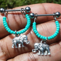 Sale.....Nipple or cartilage barbell piercings Elephant 14 gauge stainless steel.......light weight
