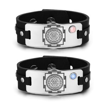 Sri Yantra Chakra Magic Energy Amulets Love Couples Blue Pink Simulated Cats Eye Leather Bracelets