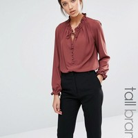 Y.A.S Tall | Y.A.S Tall High Neck Button Up Victoriana Blouse at ASOS