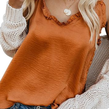 Orange V-Neck Ruffle Adjustable Spaghetti Strap Tank Top