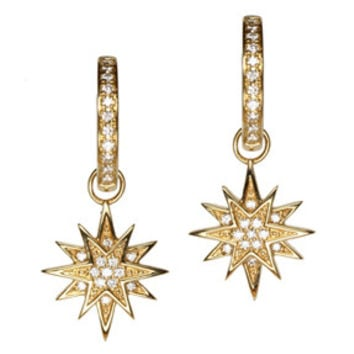 18K Yellow Gold Diamond Starburst Earring Charms