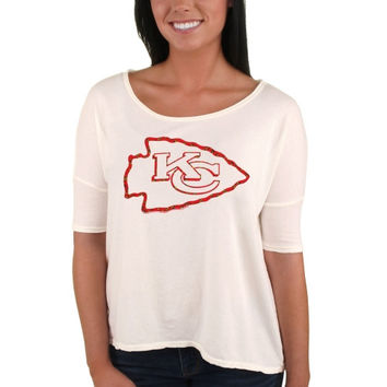 Kansas City Chiefs Junk Food Women's Oversized Fashion Print Team Logo T-Shirt - White