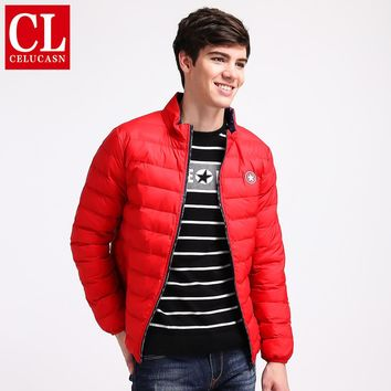 Mens Coats Parkas Preppy Style Waterproof Zipper Sewing Cotton Youth Jackets Campus Stand Neck