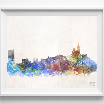 Marseille Skyline, France Watercolor, Poster, French, Print, Bedroom, Art, Cityscape, City Painting, Illustration Art, Europe, Room [NO 432]