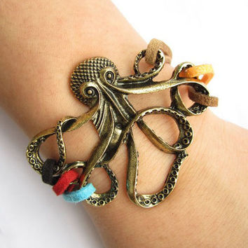 octopus bracelet---antique bronze octopus pendant & colorful rope chain