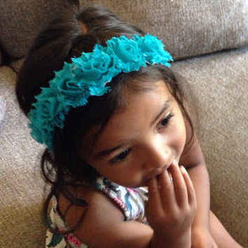 Teal Color Shabby Chic Fabric Flower Crown Headband, Baby Girl Crown Headband, Newborn Crown Headbands, Women Flower Crown Headband