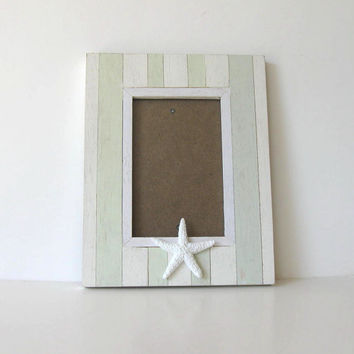 "Starfish Photo Frame, Whitewashed Beach Cottage Decor, 7"" x 7"", Home and Living, Wedding"