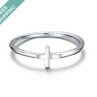 kiz&Co Sterling Silver Cross Stack Ring