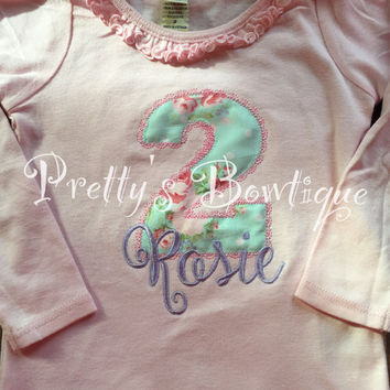 Tea Party Birthday Shirt -- Shabby Birthday Outfit - Girls Vintage Birthday-- Birthday Shirt-- Any age