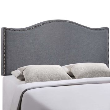 Smoke Curl Queen Nailhead Upholstered Headboard