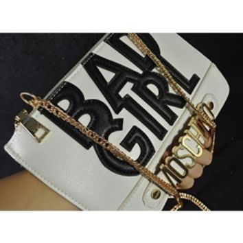 White Moschino Black Faux Vegan Leather Bad Girl Letter Gold Accent Shoulder Chain Messenger Evening Clutch Handbag