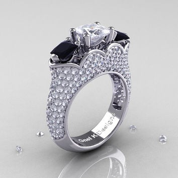 Classic 14K White Gold Three Stone Princess White Sapphire Black Diamond Azure Solitaire Ring R783P-14KWGDBDWS