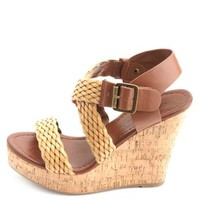 Two-Toned Braided Platform Wedge Sandals by Charlotte Russe - Tan