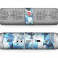 The Vector Abstract Shaped Blue Overlay V3 Skin for the Beats by Dre Pill Bluetooth Speaker