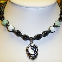 Steal Your Yin Yang Grateful Dead Stealie Hemp Necklace Choker handmade jewelry hippie
