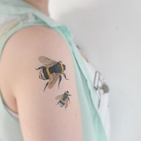Vintage Bees temporary tattoo - Hipster, Unique, Tattoo, Woodland, Black, Ink, Bug, Geekery