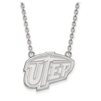 NCAA 10k White Gold U of Texas at El Paso Large Pendant Necklace